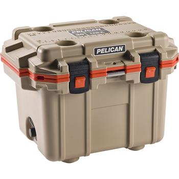 Tan Pelican™ 30 Quart Elite Cooler with Orange Trim