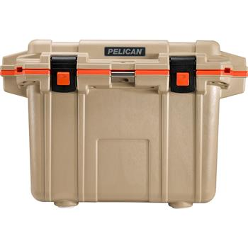 Tan Pelican™ 50 Quart Elite Cooler with Orange Trim
