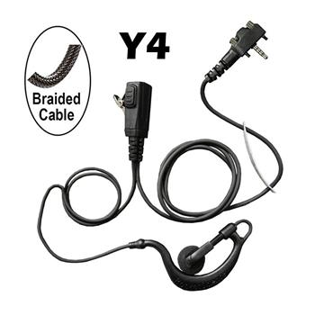 BodyGuard Surveillance Radio Earpiece with a Braided Cable and Y4 Connector