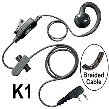 Curl Radio Earpiece with a Braided Cable and K1 Connector