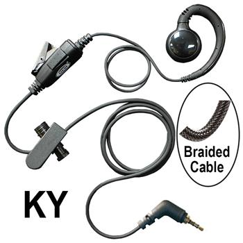 Curl Cell Phone Earpiece with Braided Cable with KY Connector