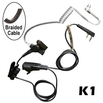 Signal Surveillance Radio Earpiece with a Braided Cable and K1 Connector