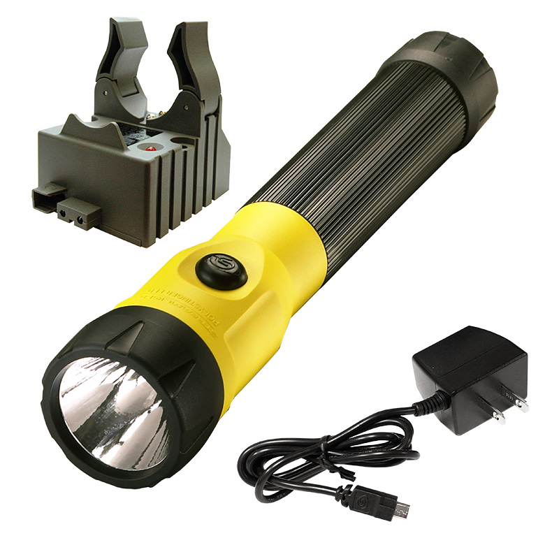 Yellow Streamlight PolyStinger LED Rechargeable Flashlight with AC Charge Cord and 1 Base