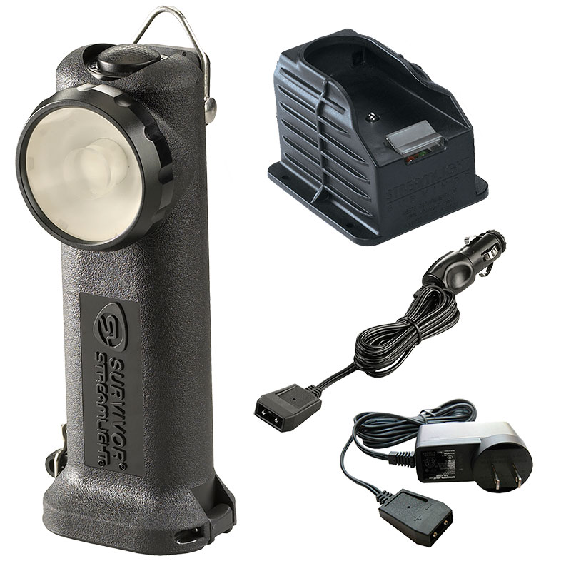 Black Streamlight Survivor LED Flashlight with AC/DC cords and one base