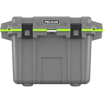 Dark Gray Pelican™ 50 Quart Elite Cooler with Green Trim