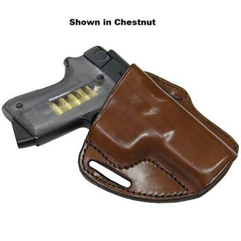 Black Semi-Auto Canted Pancake-Style Stallion Leather Concealment Half-Holster (Pistol not included)