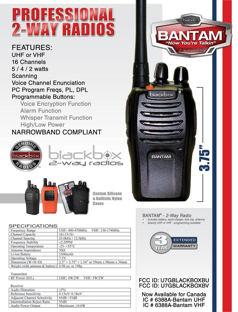 Blackbox Bantam VHF 2-Way Radio - K1 | LOWEST PRICES
